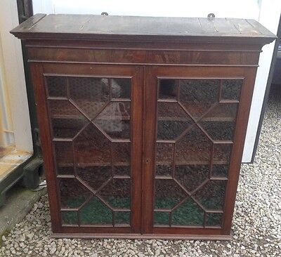TO CLEAR! Walnut Veneered Glass Fronted Cabinet Book Case Renovation Project