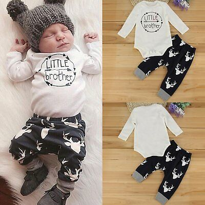 Newborn Baby Boy Little Brother Tops Romper +Long Pants Deer Outfits Set Clothes