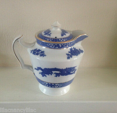 Rare - Cauldon Blue Dragon Hot Water Jug - Gold Trim (Reg No 692086)