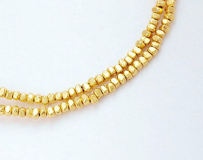 Karen hill tribe 24k Gold  Vermeil Style  130 Faceted Beads 1.6mm.