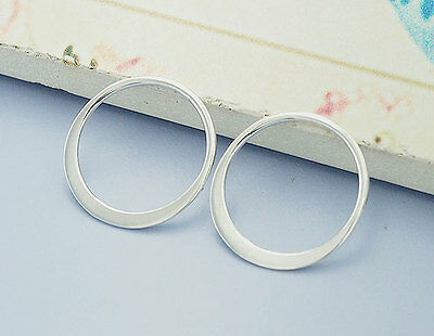 925 Sterling Silver 4 Circle Links, Connectors 15 mm.