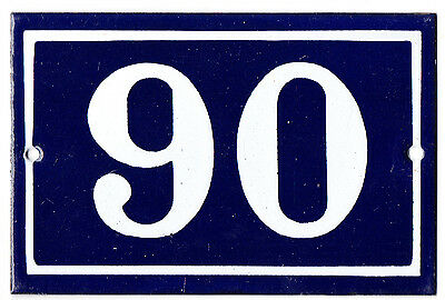 Old blue French house number 90 door gate plate plaque enamel steel metal sign