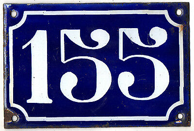 Old blue French house number 155 door gate plate plaque enamel steel sign c1900