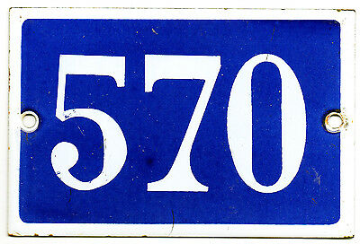 Old blue French house number 570 door gate plate plaque enamel steel metal sign