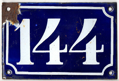Old blue French house number 144 door gate plate plaque enamel steel sign c1900