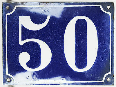 Old large blue French house number 50 door gate plaque enamel steel metal sign
