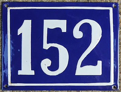 Large old blue French house number 152 door gate plate plaque enamel metal sign