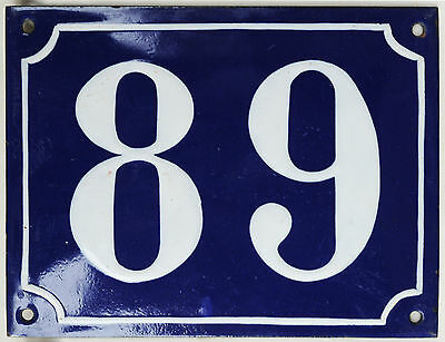 Old large blue French house number 89 door gate plaque enamel steel metal sign
