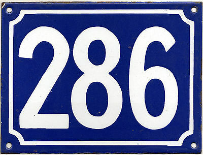 Large old blue French house number 286 door gate plate plaque enamel metal sign