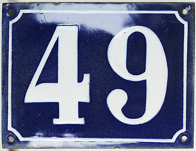Old large blue French house number 49 door gate plaque enamel steel metal sign