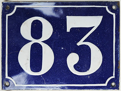 Old large blue French house number 83 door gate plaque enamel steel metal sign