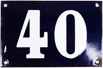 Old blue French house number 40 door gate plate plaque enamel steel metal sign
