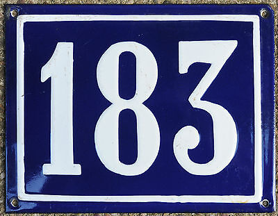 Large old blue French house number 183 door gate plate plaque enamel metal sign