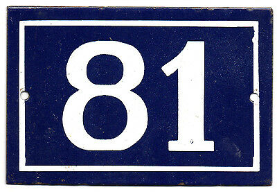 Old blue French house number 81 door gate plate plaque enamel steel metal sign