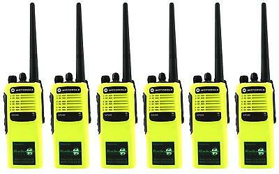 MOTOROLA GP340 VHF 5 WATT TWO WAY WALKIE-TALKIE RADIOS x 6 HI-VIZ YELLOW