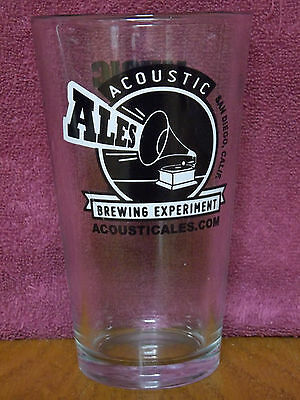 """Acoustic Ales Brewing Experiment Music In Liquid Form 5.75"""" Graphic Beer Glass"""