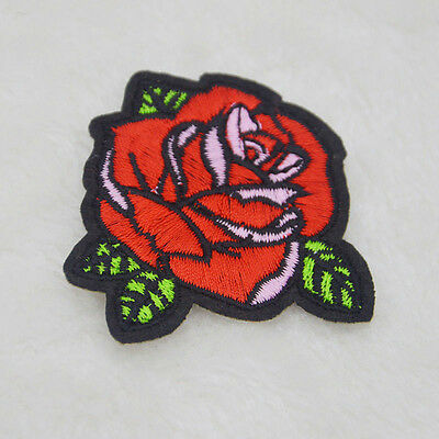 Newest 2PCS DIY RED ROSE FLOWER Applique EMBROIDERY IRON ON PATCH BADGE