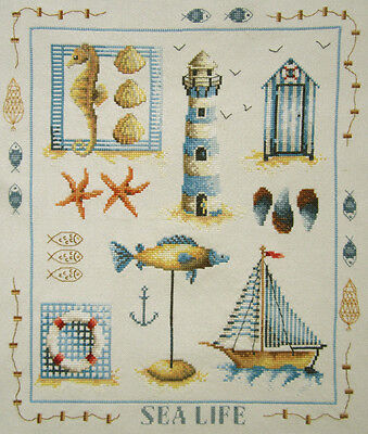 Gorgeous! Sea Life Shells Fish Completed Cross Stitch Finished