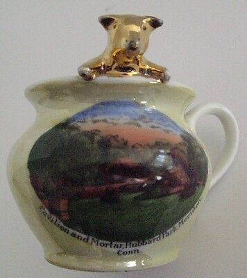 Souvenir China Pig Cup Pavilion & Mortar Hubbard Park Meriden CT Made In Germany