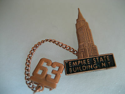 Vintage Empire State Building New York Lapel Pin 1963