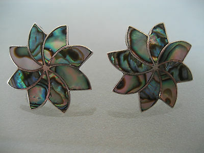Vintage Mexican  Sterling Silver & Abalone Screw On Earrings