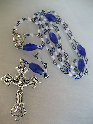 Vintage Sterling Silver / Cobalt Blue Glass Bead Rosary  Signed Olrm
