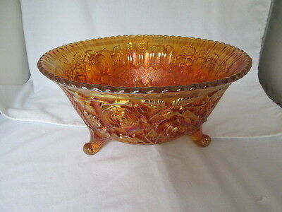 "Vintage Large Imperial Luster Open Rose Marigold Carnival Glass Footed 10"" Bowl"