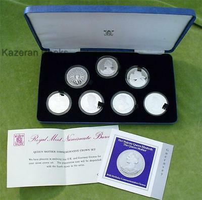 Royalty Queen Mother Solid Silver Commemorative 7 Crown Coins Set & Box 1980