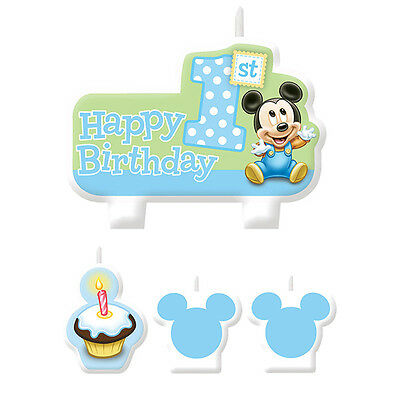 Disney Baby MICKEY Mouse CANDLE SET 1st Birthday Party Cake Supplies Decorations