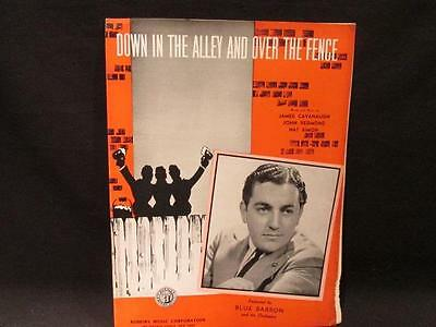 Down in the Alley & Over The Fence Blue Barron 1939 Sheet Music