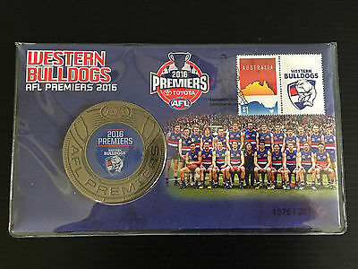 New Mint 2016 AFL Premiership Western Bulldogs Medallion & Stamp Cover Set FDC