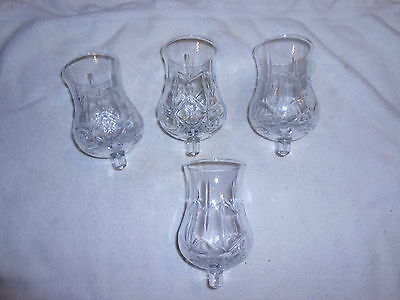 2 Embossed Glass Peg Candle Votive Cups Rubber Grippers