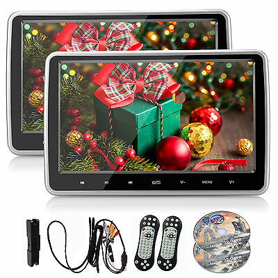 "2× 10"" Car Headrest Monitor DVD/USB/SD Player IR/FM AV/HDMI Input + Game System"