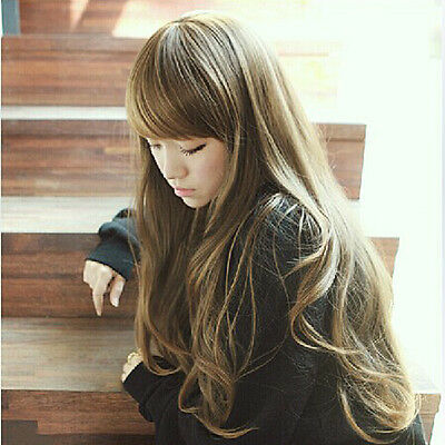 Fashion Korean Women Long Brown Curly Wavy Wigs Side Fringe Fake Hair Style Wig
