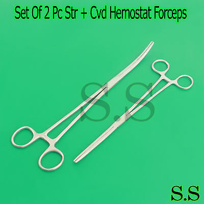 "New 2pc Set 12"" Str + 16"" Cvd Hemostat Forceps Locking Clamps Stainless Steel"