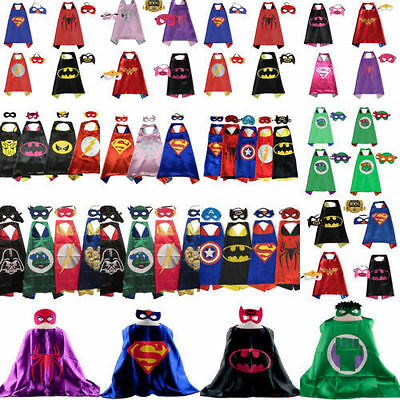 Kids Superhero Boy Girl Party Costume Set Superman Batman Spiderman Cape & Mask
