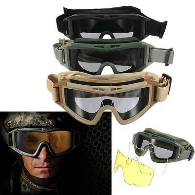 Tactical Airsoft Anti Fog Goggles Eye Safety Protection UV Glasses w/ 3 Lenses