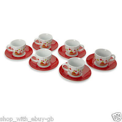 6 Christmas Design Espresso Coffee Cup & Saucers 12 Piece Set Tree Bauble Gift