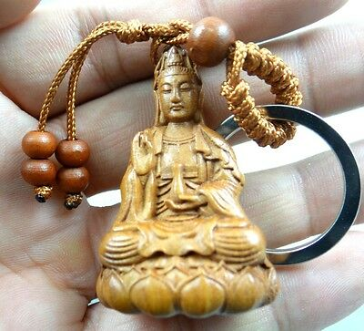 45*30MM Hand-carved Buddha Wooden Crafts,Key Chain,Key Ring Lover e6