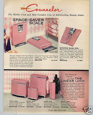 1961 PAPER AD Counselor Space Saver Bathroom Scale Fold Up Mid Century Modern