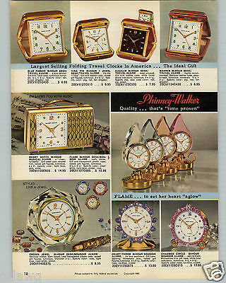 1961 PAPER AD 4 PG Phinney Walker Travel Alarm Clock Flame Rhinestone Trim COLOR