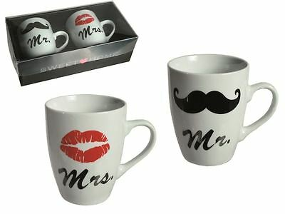 Mr & Mrs Mug Printed Tea Coffee Cups Set With Moustache & Lipstick Gift New
