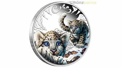 50 Cents The Cubs Baby Snow Leopard Schneeleopard Tuvalu 1/2 oz Silber 2016 PP