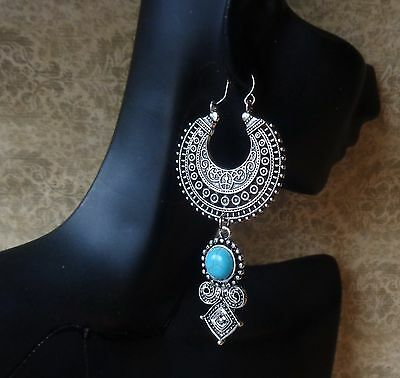 Exotic Earrings Long Tribal Filigree Hoops W/ Turquoise Howlite Drops