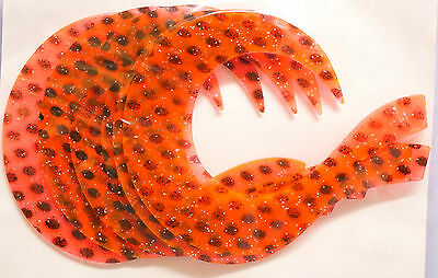 Wiggle Tail large 6 x ORANGE - BLACK DOTS Hecht-Fliegen Pike-Tails large
