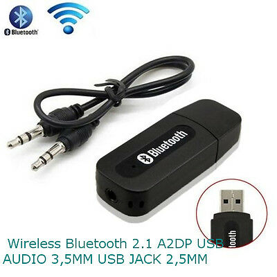 Ricevitore adattatore wireless Bluetooth dongle usb  2.1A2DP jack audio 3,5mm