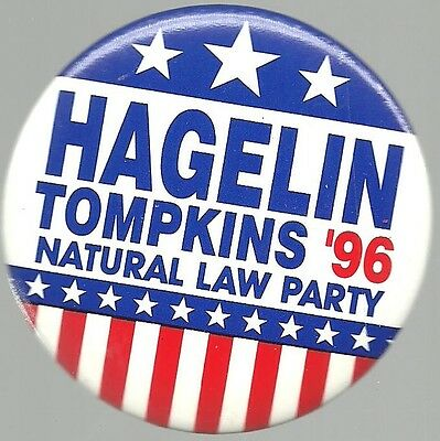 Hagelin And Tompkins Natural Law Party 1996 Political Campaign Pin