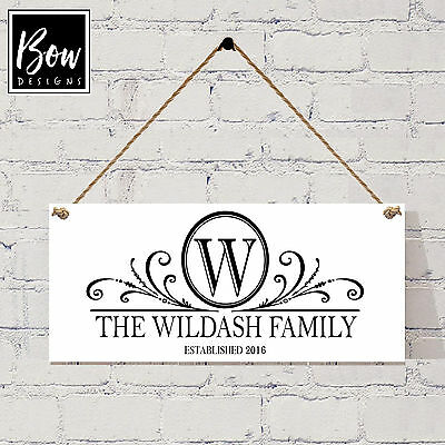 001 Personalised Family Surname Name Plaque 19X8 / Shabby Chic Wedding / Sign