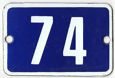 Cute old blue French house number 74 door gate plate plaque enamel steel sign