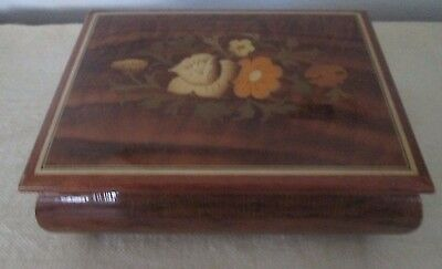 vintage lacquer MUSIC JEWELRY BOX Flower Inlay ITALY Plays Shadow of Your Smile